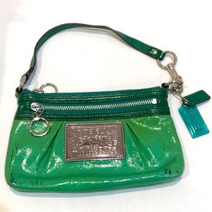 Coach Poppy Green Wristlet Handbag